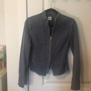 Ruffle Trim Military Style Jacket   Slate Blue
